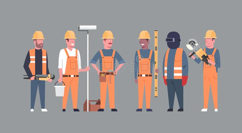 Costruction Workers Team Industrial Technicians Mix Race Men Builders Group stock illustration