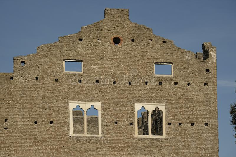 Costructive dectail antyczne ruiny grobowiec Caecilia Metella fotografia royalty free