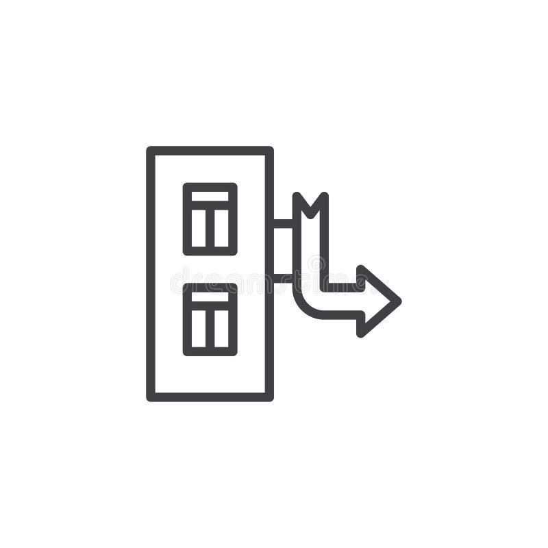 Costruendo con la linea icona del puntatore a freccia illustrazione vettoriale