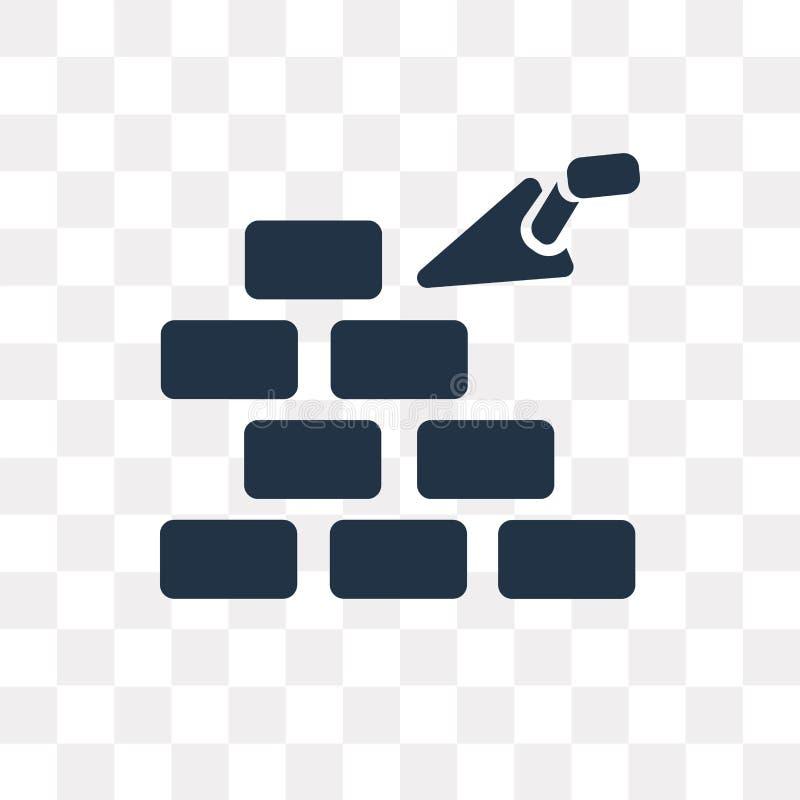 Costruendo un'icona di vettore del muro di mattoni isolata sulle sedere trasparenti illustrazione vettoriale