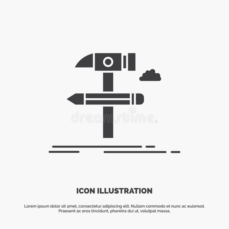Costruisca, progetti, sviluppi, foggi, icona degli strumenti simbolo grigio di vettore di glifo per UI e UX, sito Web o applicazi illustrazione vettoriale