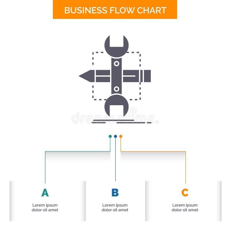 Costruisca, progetti, sviluppi, schizzi, progettazione del diagramma di flusso di affari degli strumenti con 3 punti r illustrazione vettoriale