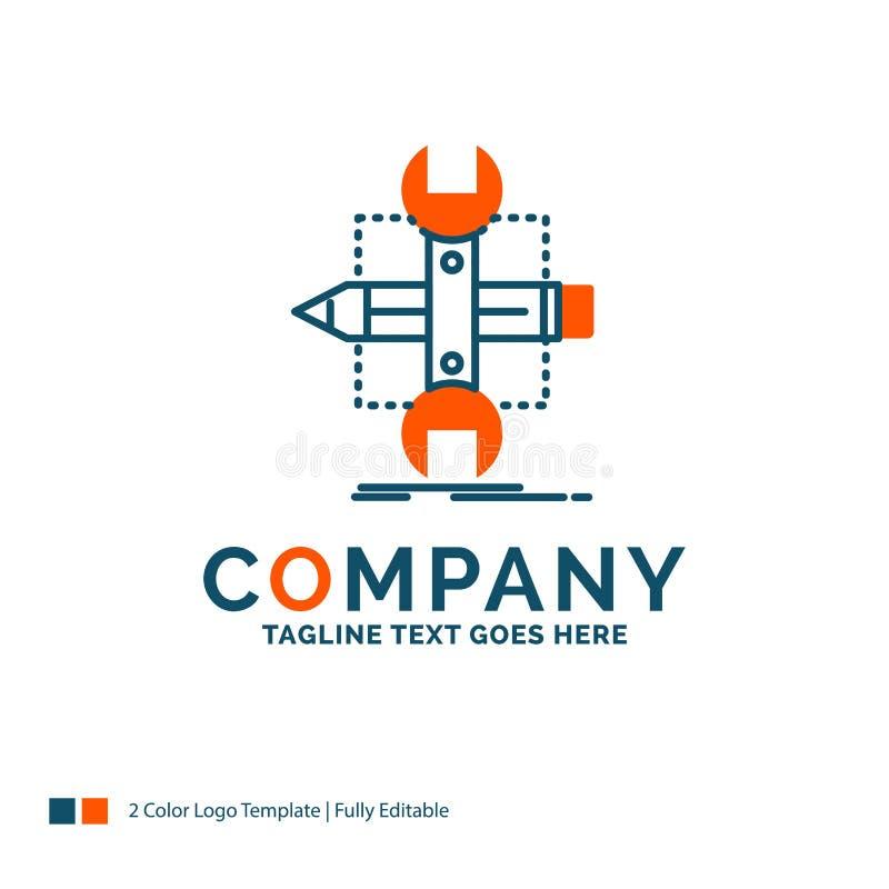 Costruisca, progetti, sviluppi, schizzi, strumenti Logo Design Blu ed Oran immagine stock