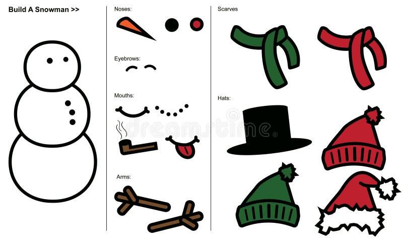 Costruisca un pupazzo di neve illustrazione di stock