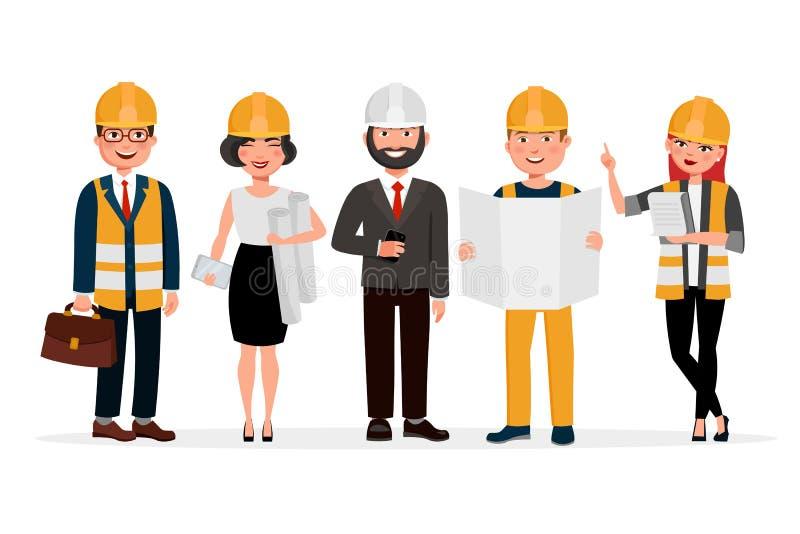 Costruisce i personaggi dei cartoni animati isolati su fondo bianco Gruppo di tecnici, di costruttori, di meccanici e di gente de illustrazione vettoriale