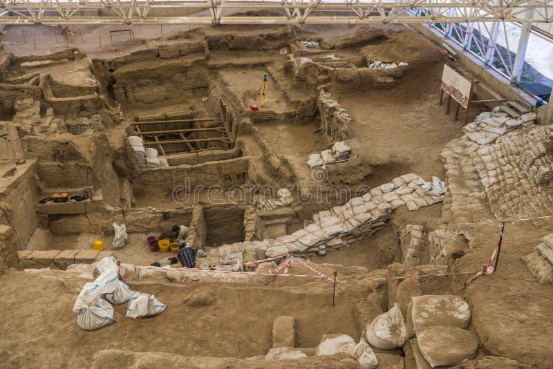 Costruito in 7500 A C Catalhoyuk è il più vecchio stabilimento nel mondo Neolitico e Chalcolithic fotografia stock