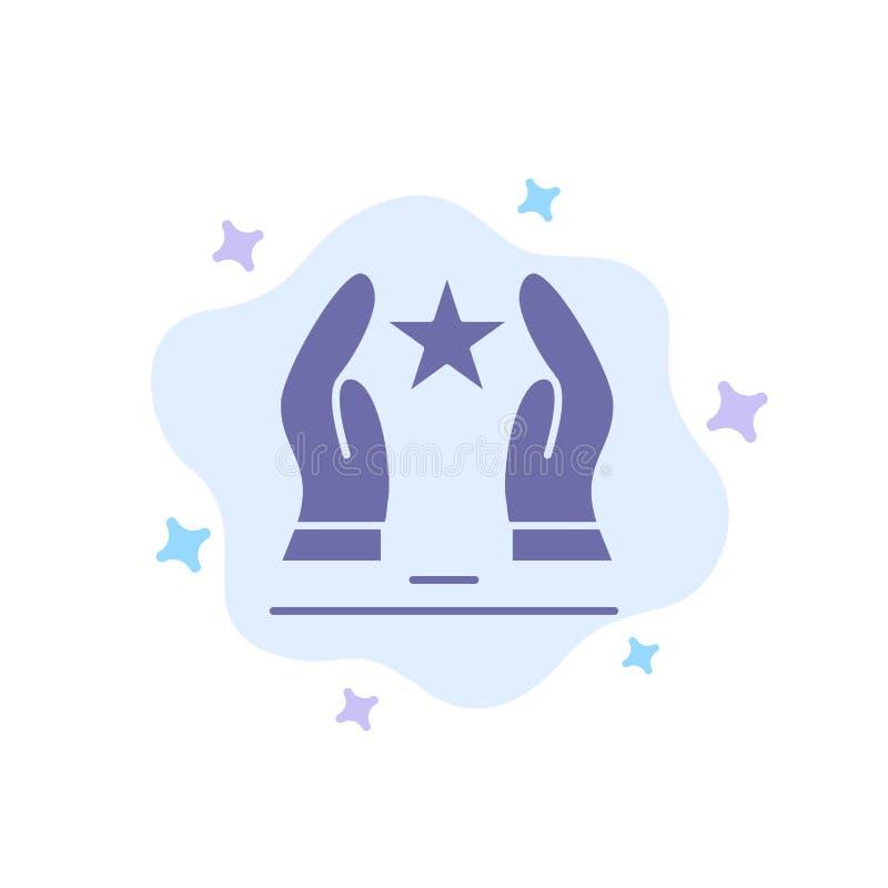 Costruito, preoccupi, motivi, motivazione, icona blu della stella sul fondo astratto della nuvola royalty illustrazione gratis