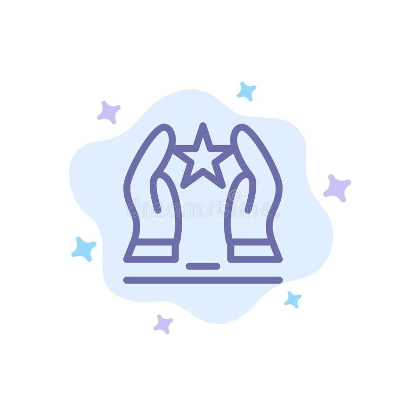 Costruito, preoccupi, motivi, motivazione, icona blu della stella sul fondo astratto della nuvola illustrazione vettoriale
