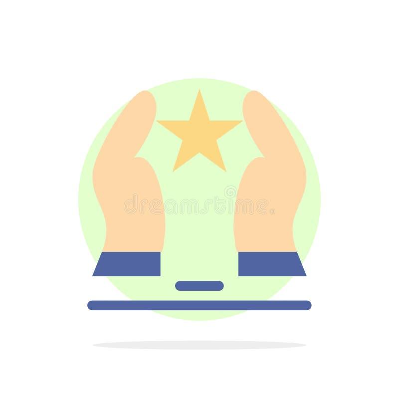 Costruito, preoccupi, motivi, motivazione, icona piana di colore del fondo del cerchio dell'estratto della stella illustrazione vettoriale