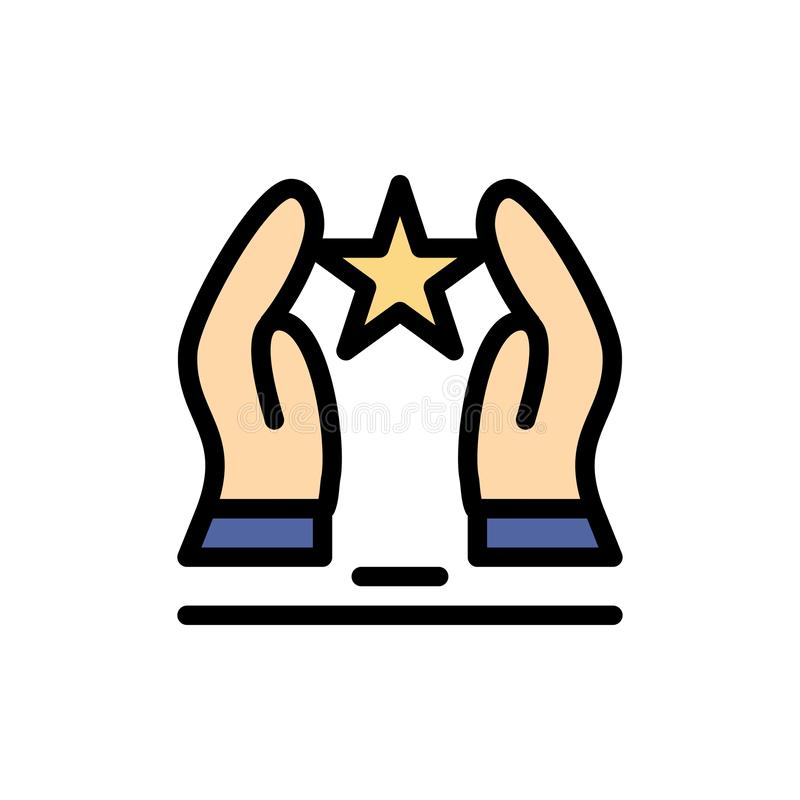 Costruito, preoccupi, motivi, motivazione, icona piana di colore della stella Modello dell'insegna dell'icona di vettore illustrazione di stock