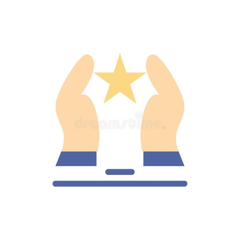 Costruito, preoccupi, motivi, motivazione, icona piana di colore della stella Modello dell'insegna dell'icona di vettore royalty illustrazione gratis