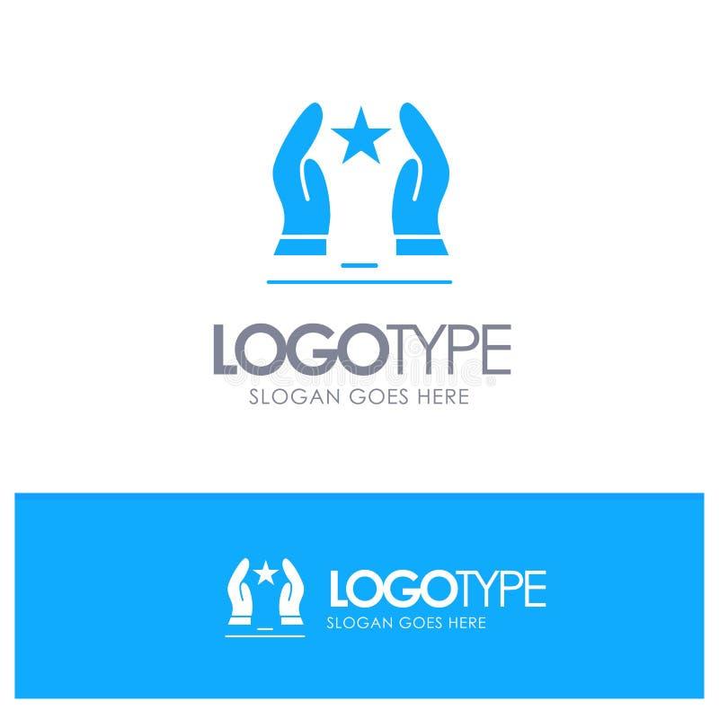 Costruito, preoccupi, motivi, motivazione, logo solido blu della stella con il posto per il tagline illustrazione di stock