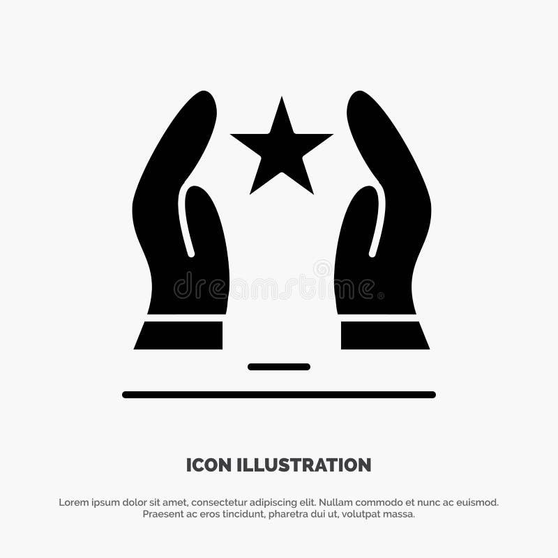 Costruito, preoccupi, motivi, motivazione, vettore solido dell'icona di glifo della stella illustrazione di stock