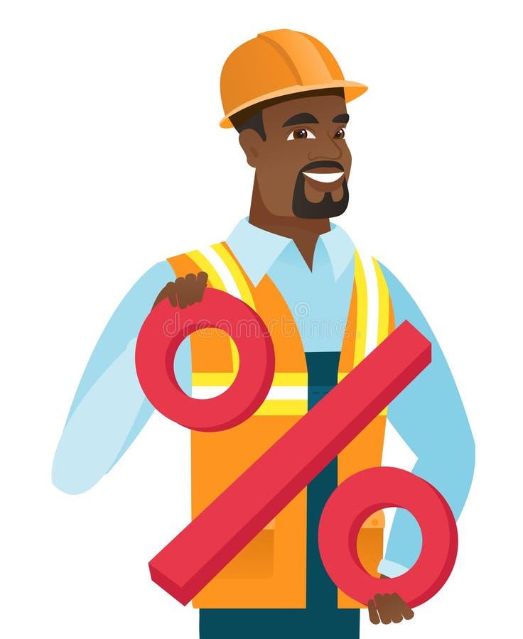 Costruttore afroamericano che tiene il segno di percentuali royalty illustrazione gratis