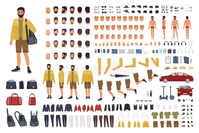 Costruttore caucasico dell'uomo o corredo di DIY Raccolta delle parti del corpo del carattere maschio, gesti di mano, abbigliamen illustrazione di stock