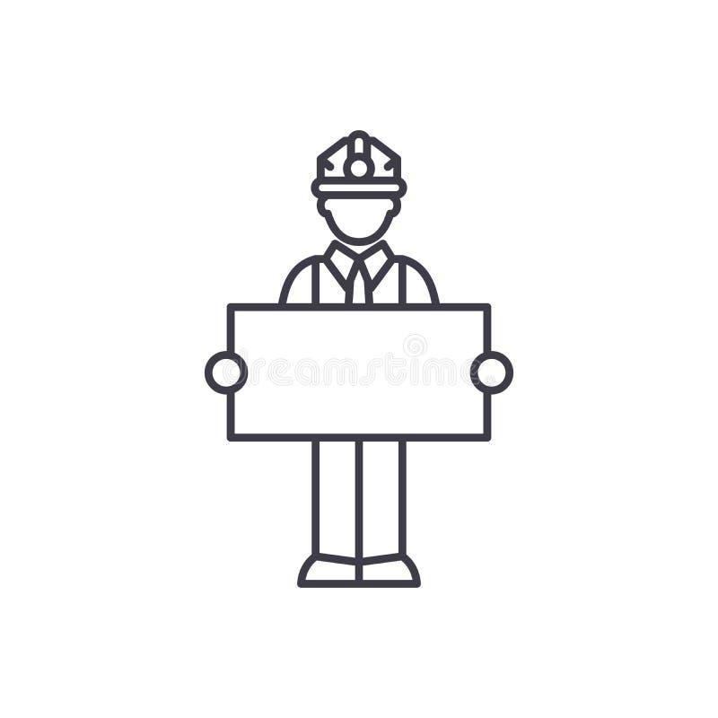 Costruttore con una linea concetto del segno dell'icona Costruttore con un'illustrazione lineare di vettore del segno, simbolo, s royalty illustrazione gratis