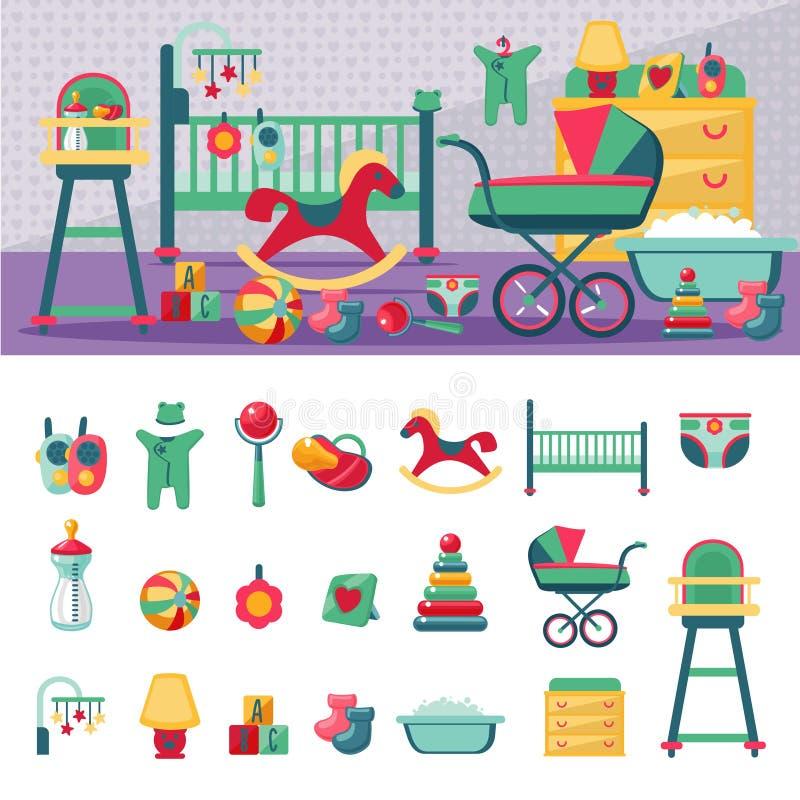 Costruttore del modello della stanza ed insieme neonati dell'icona Stile piano illustrazione vettoriale