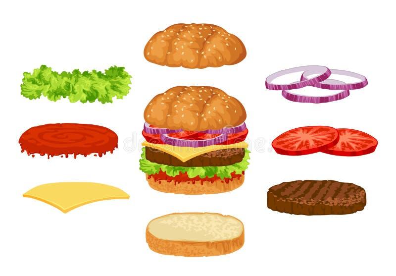 Costruttore dell'hamburger illustrazione vettoriale