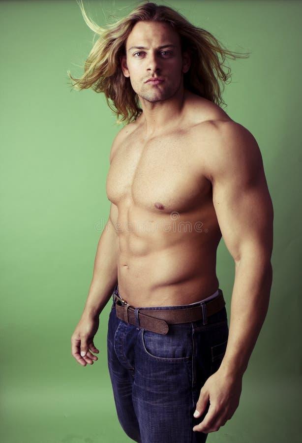 Costruttore di corpo maschio sexy atletico immagine stock libera da diritti