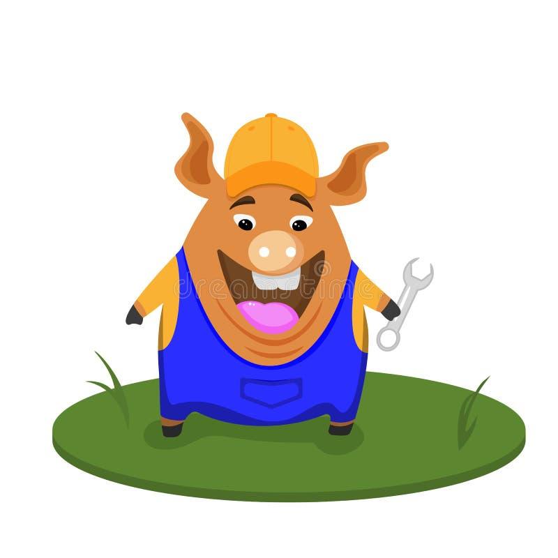 Costruttore divertente del maiale Costruttore di professione, fumetto, maiale divertente illustrazione vettoriale