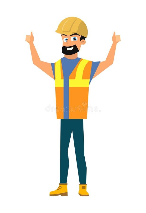 Costruttore felice Shoving Thumbs sul vettore piano del segno illustrazione vettoriale