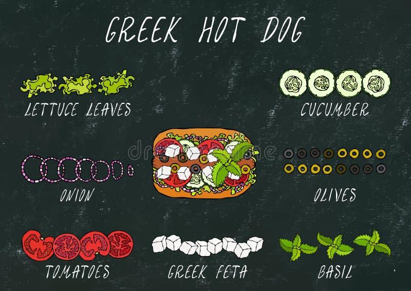 Costruttore greco degli ingredienti del hot dog Feta, basilico Olive, insalata della lattuga, pomodoro, cetriolo Raccolta degli a fotografia stock libera da diritti