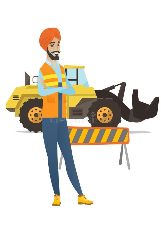 Costruttore indù sicuro con le armi attraversate illustrazione vettoriale