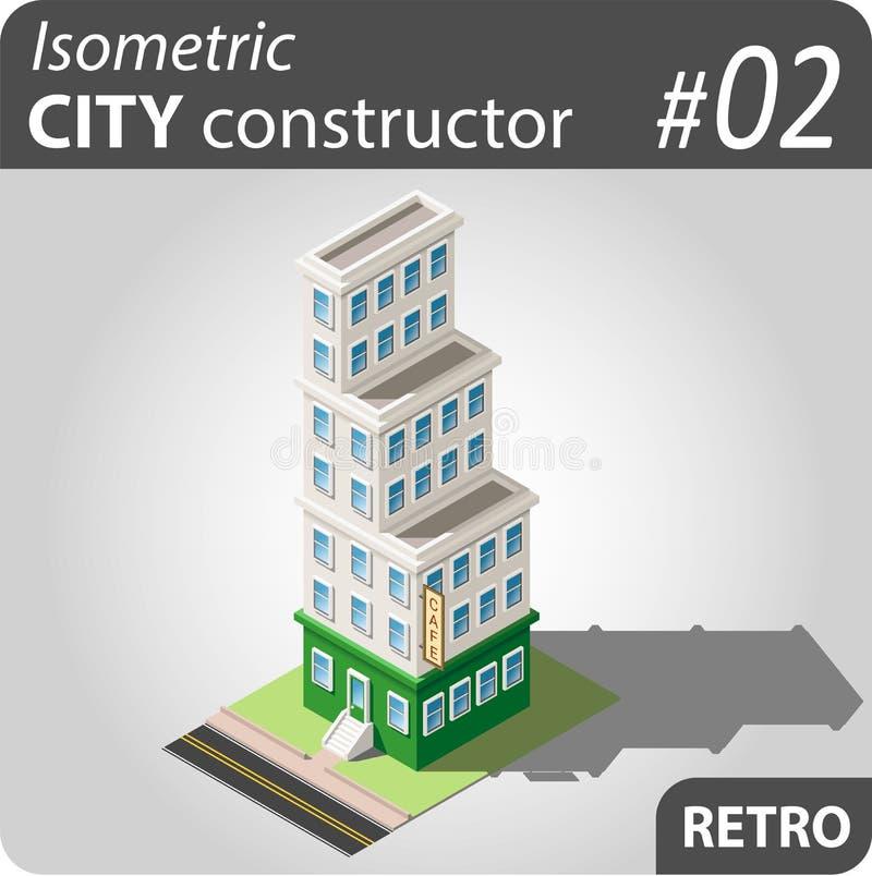 Costruttore isometrico della città - 02 illustrazione vettoriale