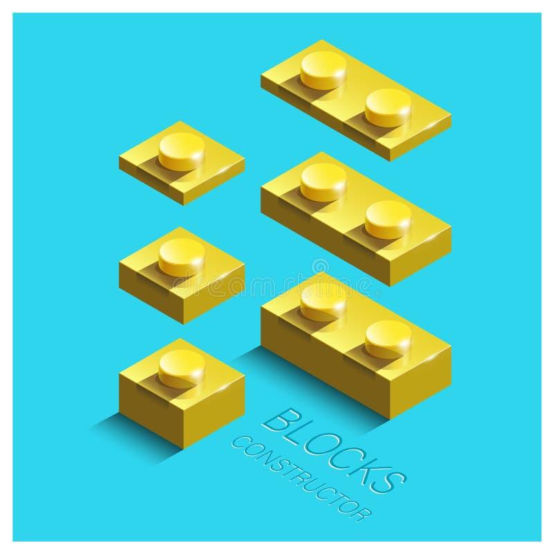 Costruttore isometrico giallo 3d dai mattoni di lego della costruzione royalty illustrazione gratis