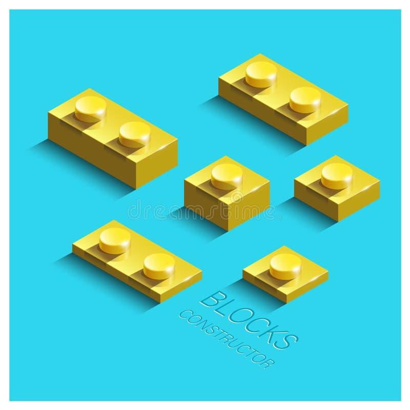 Costruttore isometrico giallo 3d dai mattoni di lego della costruzione illustrazione vettoriale