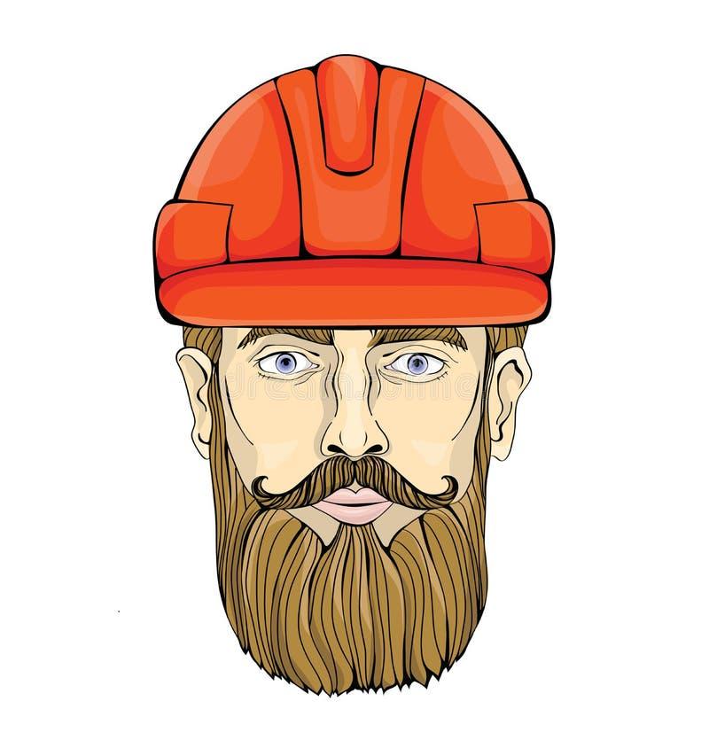 Costruttore, lavoratore dell'industria Il fronte di un uomo barbuto in un casco della costruzione Illustrazione di vettore, isola royalty illustrazione gratis