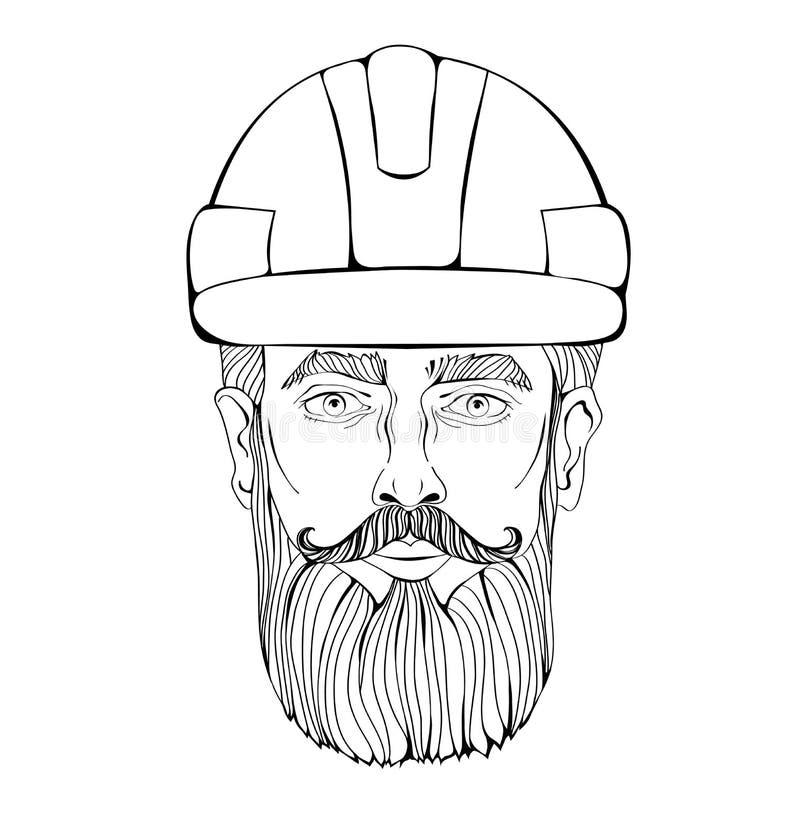 Costruttore, lavoratore dell'industria Il fronte di un uomo barbuto in un casco della costruzione Illustrazione di vettore, su bi illustrazione di stock