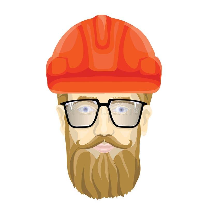 Costruttore, lavoratore dell'industria Il fronte di un uomo barbuto con i vetri in un casco della costruzione Illustrazione di ve illustrazione vettoriale