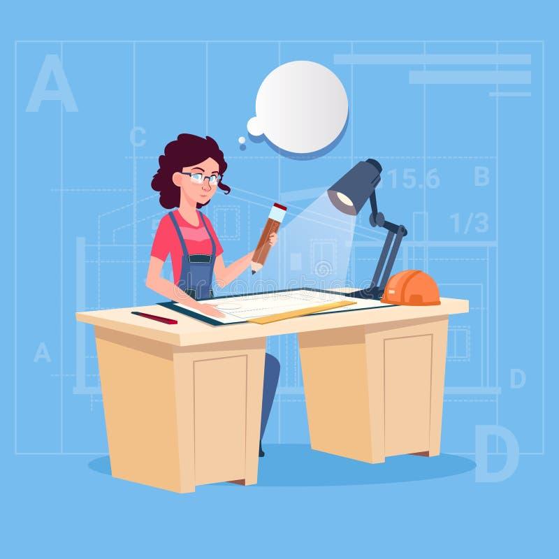 Costruttore Sitting At Desk della donna del fumetto che lavora all'architetto Engineer di piano della costruzione del modello illustrazione vettoriale