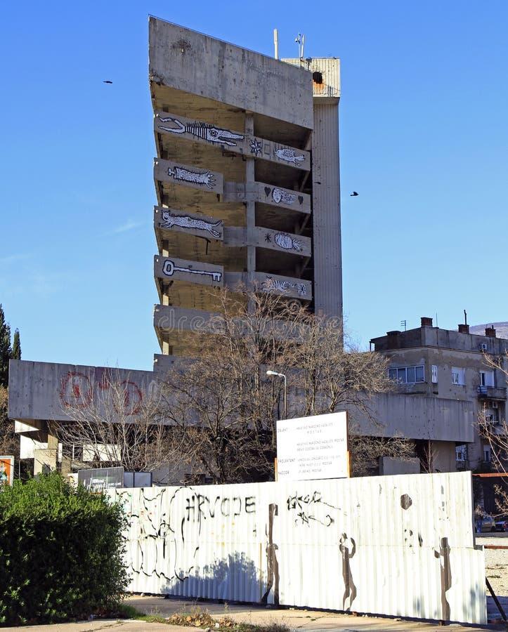 Costruzione abbandonata a Mostar immagine stock libera da diritti