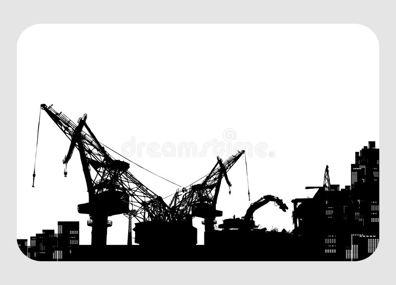 Costruzione & illustrazione della gru di demolizione illustrazione vettoriale