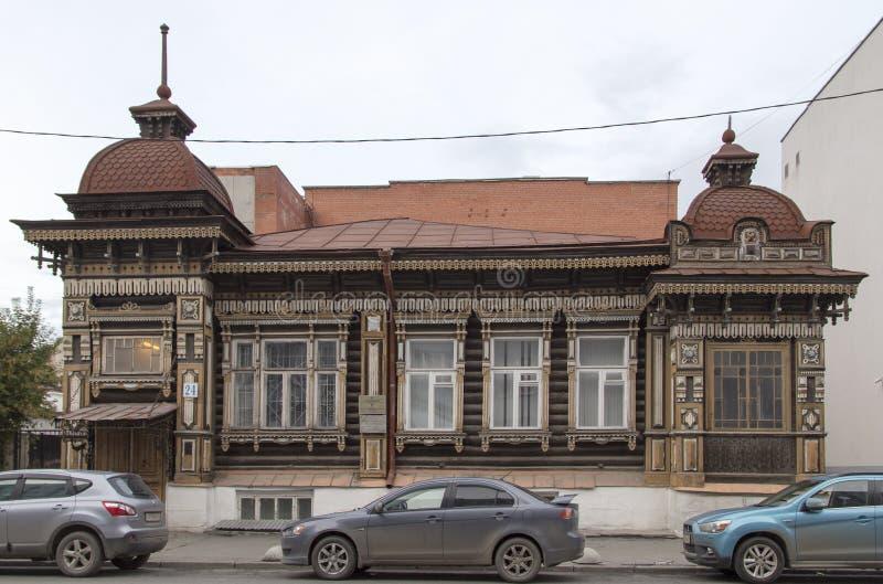 Costruzione antica a Ekaterinburg, Federazione Russa immagine stock