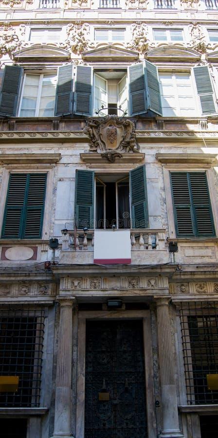 Costruzione antica, meravigliosamente decorata, barrocco nella città di Genova, Italia fotografie stock