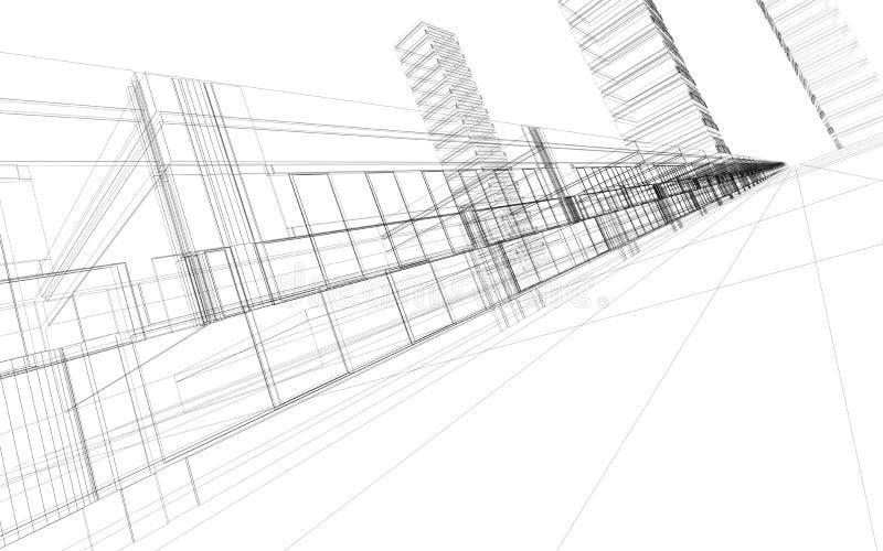 Costruzione astratta 3D illustrazione di stock