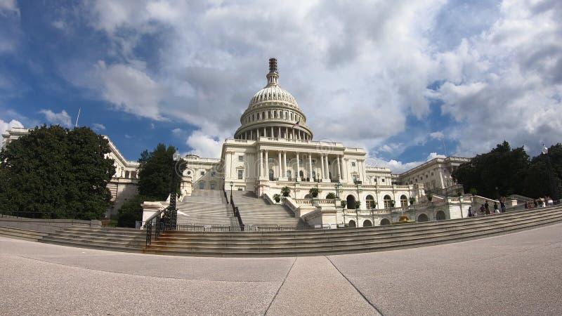 Costruzione capitala degli Stati Uniti, congresso - Washington DC grandangolare immagine stock libera da diritti