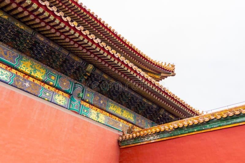 Costruzione cinese nella Città proibita che è un complesso del palazzo, quella di architettura del patrimonio mondiale dell'Unesc fotografie stock