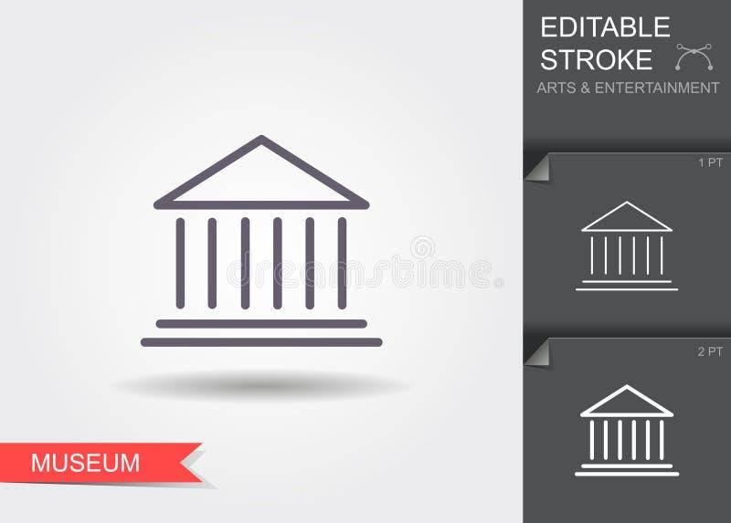 Costruzione classica del museo Linea icona con ombra ed il colpo editabile illustrazione di stock