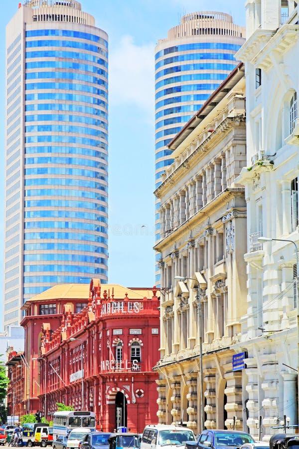 Costruzione coloniale e World Trade Center, Sri Lanka Colombo immagini stock libere da diritti