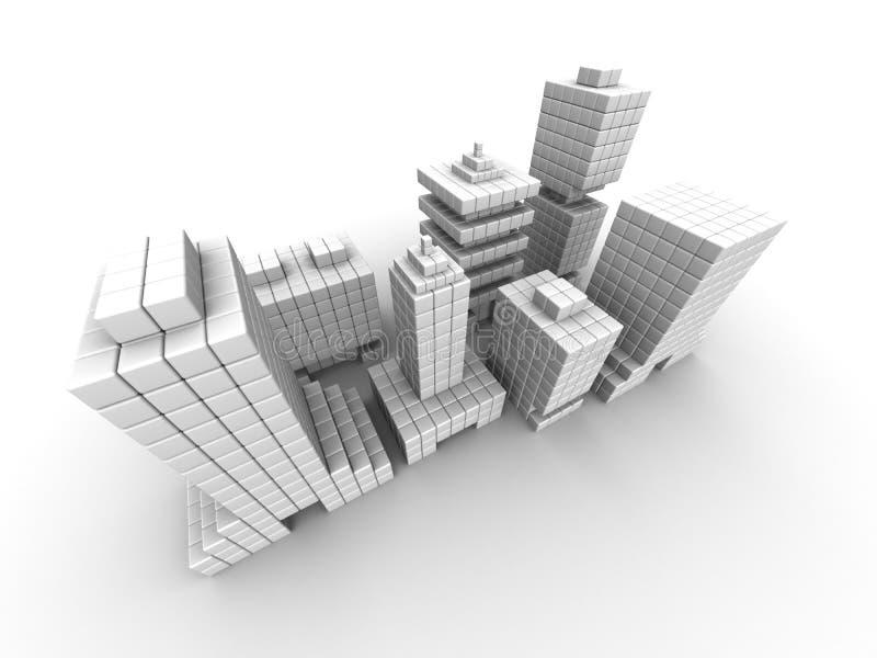 Costruzione commerciale di affari del bene immobile illustrazione vettoriale
