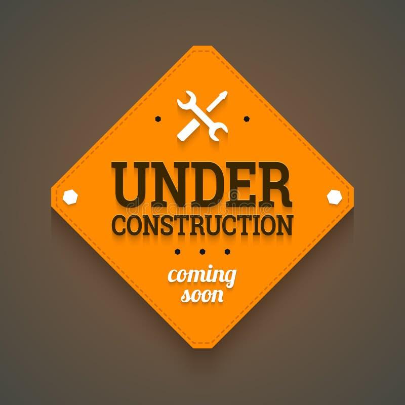 In costruzione con la venuta presto etichetta. immagine stock