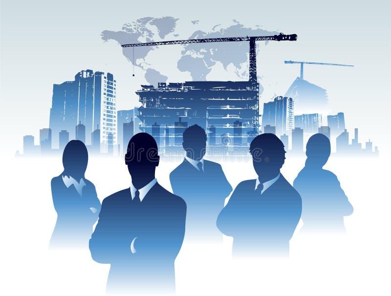 Costruzione in costruzione dell'ufficio del gruppo dell'uomo d'affari illustrazione di stock