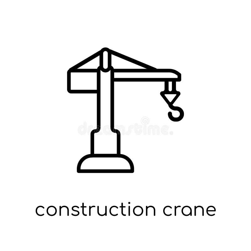 Costruzione Crane Icon Vettore lineare piano moderno d'avanguardia Constr royalty illustrazione gratis