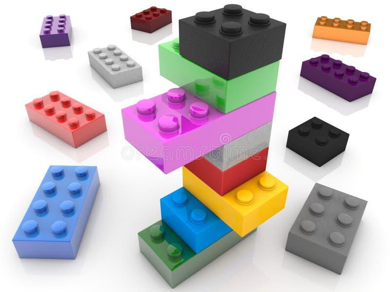 Costruzione dei mattoni del giocattolo in vari colori royalty illustrazione gratis