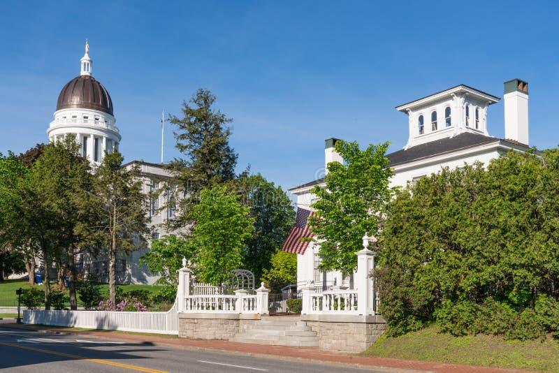 Costruzione del Campidoglio e di Blaine House a Augusta, Maine fotografia stock