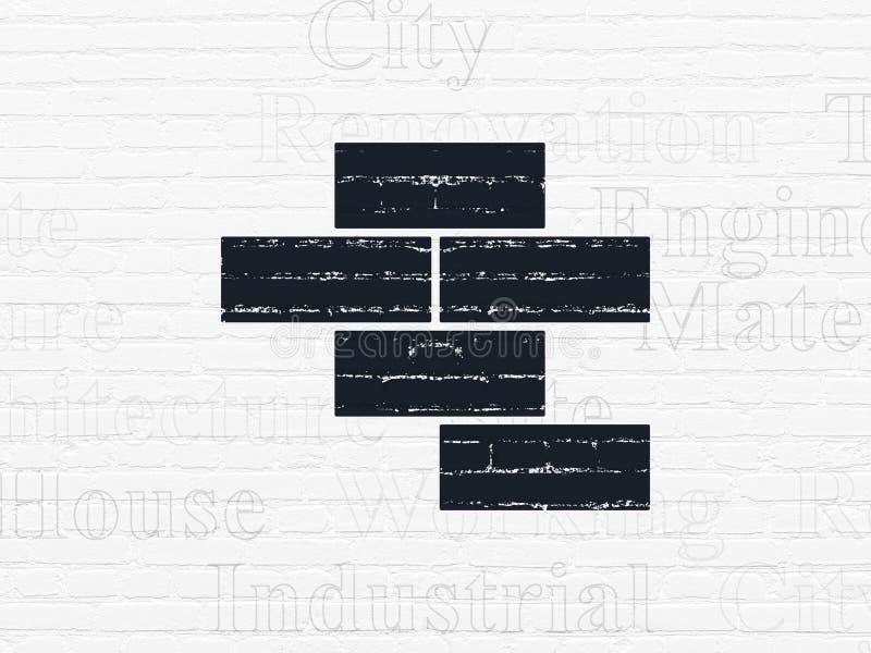 Costruzione del concetto: Mattoni sul fondo della parete illustrazione vettoriale